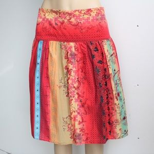Multicolor Floral Wide Waist Boho Skirt